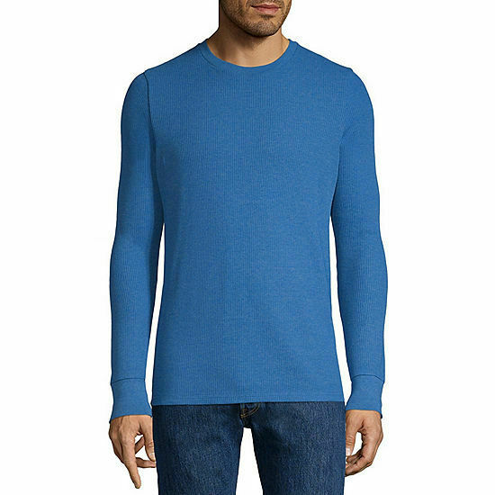 NWT arizona crew neck long sleeve thermal top snorkle blue NEW! SIZE medium