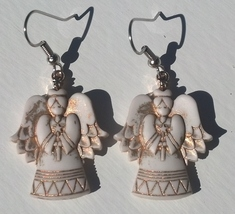 Christmas Angel Earrings on Surgical Steel Ear Hooks Hand Made In USA - $14.99