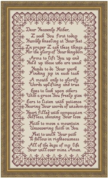 Morning Prayer MBT022 Religious Cross Stitch Chart My Big