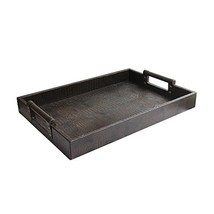 American Atelier 1183915 Leather Rectangle Serving Tray, Brown - $46.98