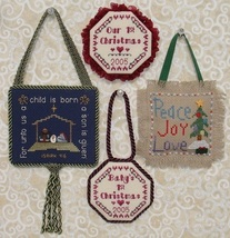 Christmas Pinkies I MBT024 ornaments cross stitch chart My Big Toe Designs - $8.00