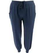 AnyBody Cozy Knit Jogger Pants Seaming Navy L NEW A349792 - $10.87