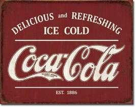 Coca Cola Coke Advertising Ice Cold Logo Retro Rustic Wall Decor Metal T... - $15.99