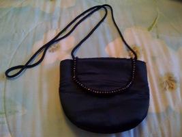 Black Evening Bag Satin, With Rope shoulder Strap & Rhinesto - $10.00
