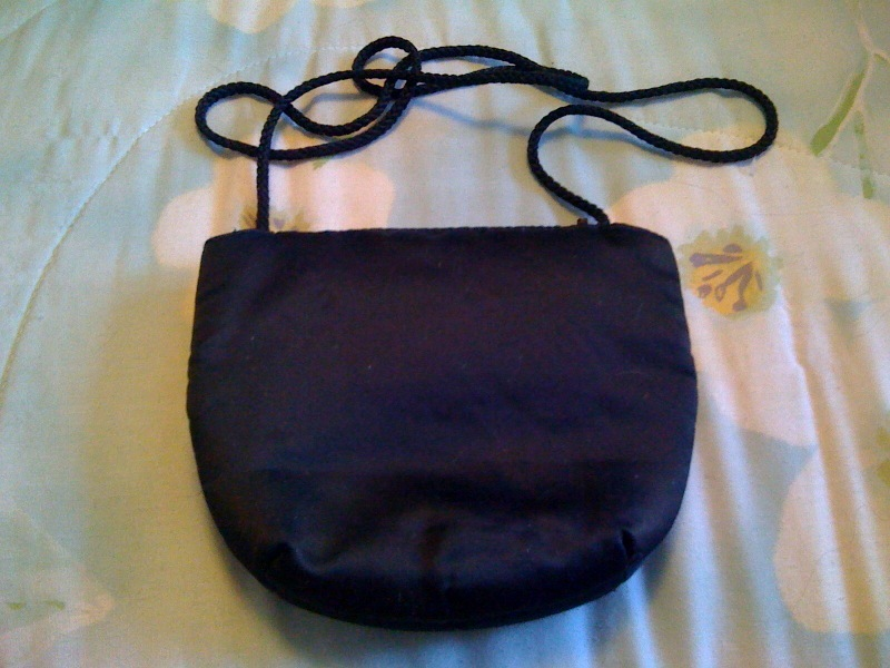 Black Evening Bag Satin, With Rope shoulder Strap & Rhinesto