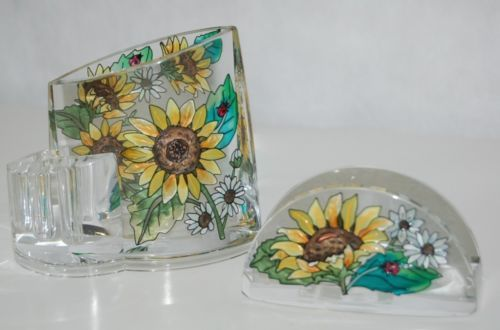 Amia Denver Hand Painted Sunflower Office Set Includes Pen Pencil Card Holder