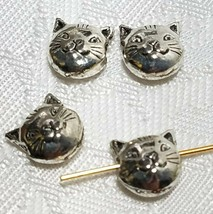 8mm Cat Face Bead 3D Fine Pewter Bead 8x8x4mm; 1mm Hole