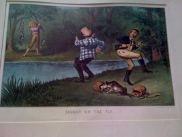 """Courrier & Ives Art Print - Matted - comical - """"Caught on th - $10.00"""