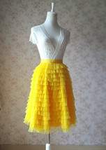 Yellow A-Line Knee Length Tiered Tulle Skirt High Waist Yellow Skirt Outfit T185 image 2
