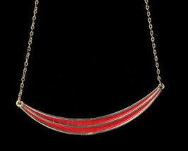 1970s Avon Red Arc & Gold Tone Pendant Necklace - $3.95