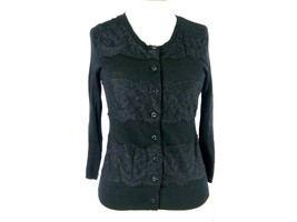 KNITTED & KNOTTED Sz S Anthropologie Black & Black Lace Striped Cardigan... - $27.88
