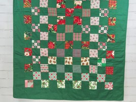 CHRISTMAS Handmade Quilted Tablecloth/Centerpiece or Throw Quilt Lap Bla... - $59.30