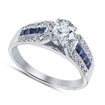 Blue Sapphire 14K White Gold Plated 925 Sterling Silver Engagement Wedding Ring - $72.26