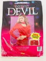 Halloween Instant Devil Kit By Fun World Horns Tail Bow Tie # 9128 Red Costume - $17.41