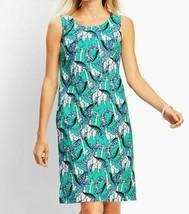 Talbots Shift Sheath Dress Womens 10 Green Jungle Giraffe Sleeveless NWO... - $35.78