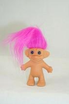 "Vintage Troll Doll Toy Nude Blue Eyes Pink Hair 2 1/2"" Made In Korea - $6.43"