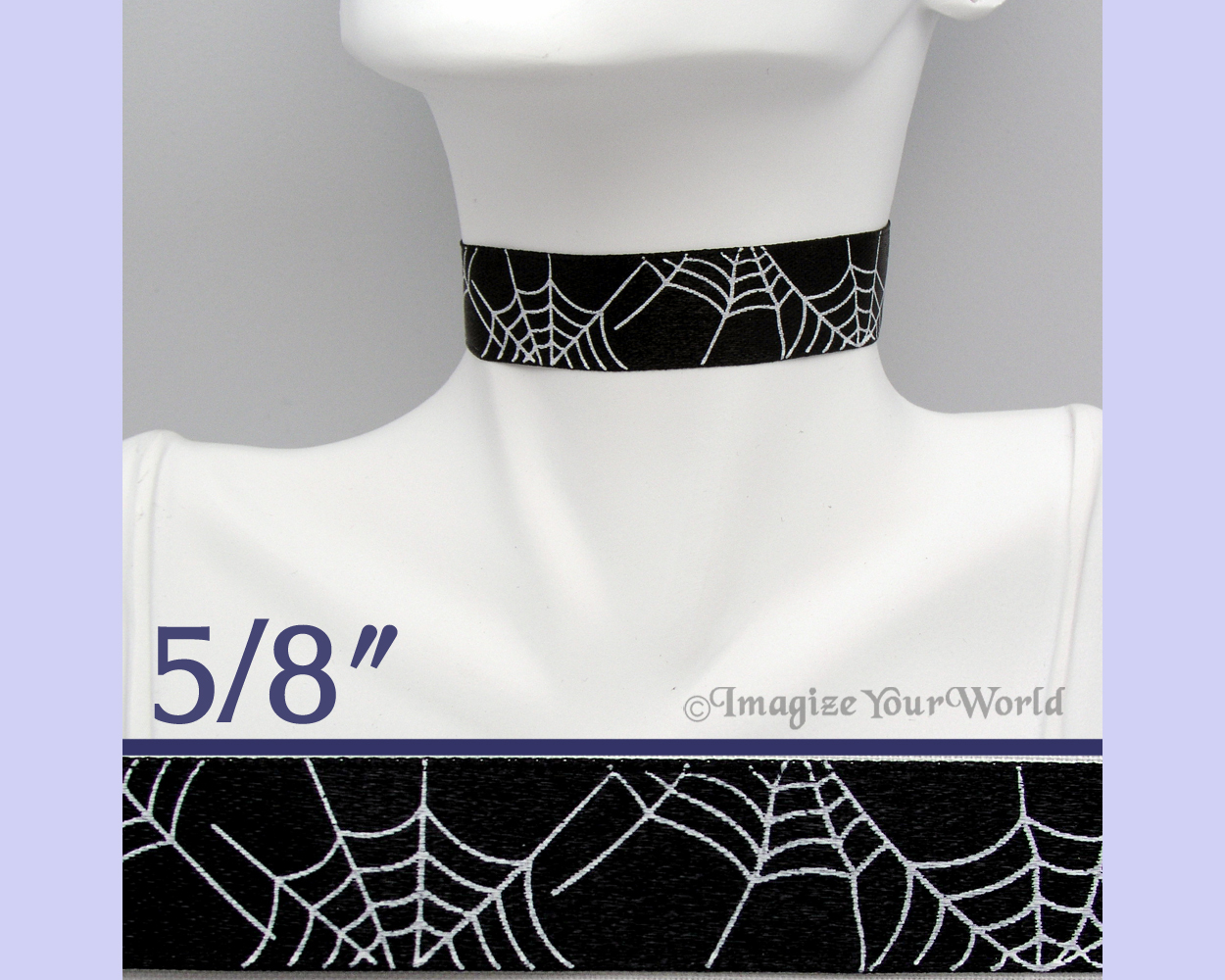 Primary image for SPIDER WEB Choker 5/8 inch 16 mm wide White on Black Custom Size Handmade USA