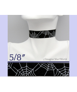 SPIDER WEB Choker 5/8 inch 16 mm wide White on Black Custom Size Handmad... - $5.25