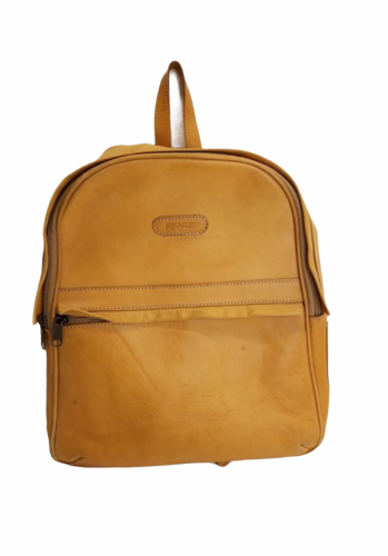 """Vintage BREE Bag Tan Leather Backpack Bag Day Pack 14.5"""" H x 12"""" W x 6"""" Poland"""