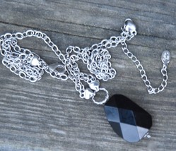 """COOKIE LEE DESIGNER NECKLACE FACETED GLASS SILVER TONE METAL CHAIN COSTUME 15"""" image 2"""