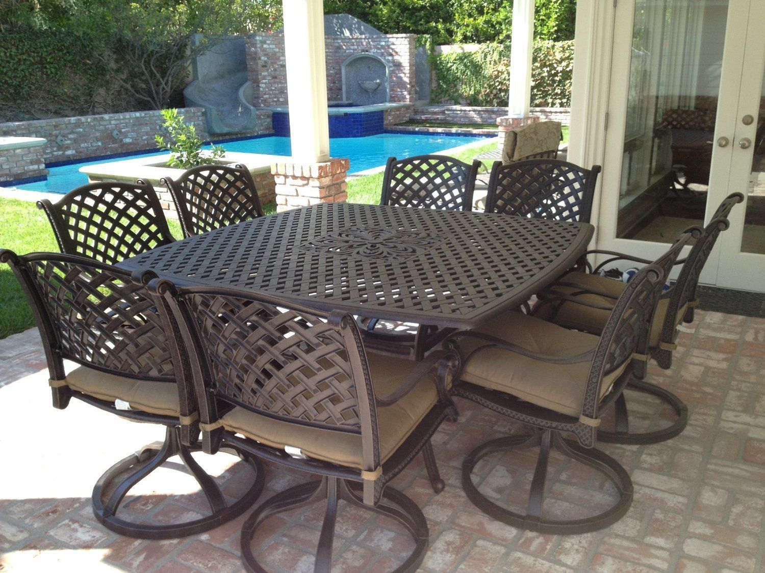 9 Piece for 8 Cast Aluminum Outdoor Patio Square Dining Set with Table & Chairs