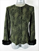SAG HARBOR womens Sz 10 P L/S ANIMAL PRINT removable FAUX FUR CUFFS jack... - $36.88