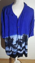 Pineapple Connection Mens Hawaiian Shirt Sz3XB Button Down Blue Palmtrees - $16.39