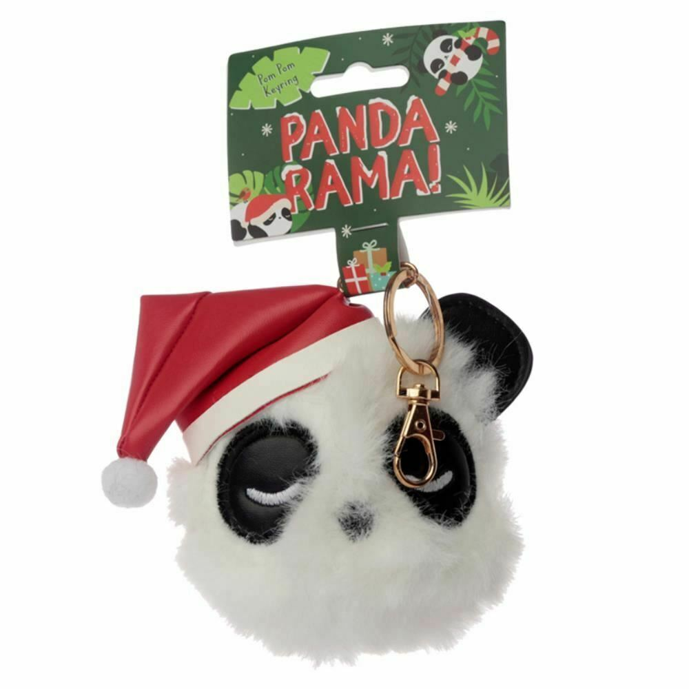 Primary image for Christmas Pandarama Panda Pom Keyring, Xmas Gift/Present/Stocking Filler