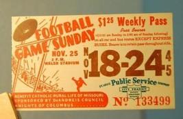 1945 St. Louis Bus Transit Service Ticket Football Game Sunday Walsh Sta... - $9.89