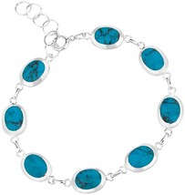 925 Sterling Silver Reconstructed Blue Turquoise or Mother of Pearl Wrap - $111.63