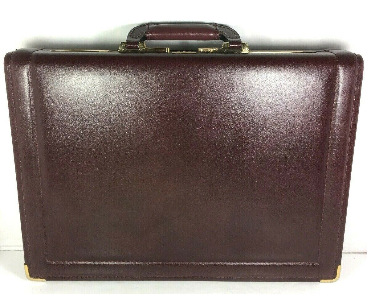 Presto Vtg Burgundy Leather Hard Sided Briefcase Combination Lock - Distressed