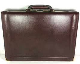 Presto Vtg Burgundy Leather Hard Sided Briefcase Combination Lock - Dist... - $44.61