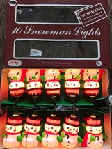 New Set Of Ten Christmas Snowman with Cane and Top Hat Blow Mold Novelty Lights - $19.79