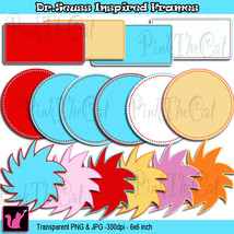 Dr Seuss The Lorax Inspired Frames clipart digi... - $6.00