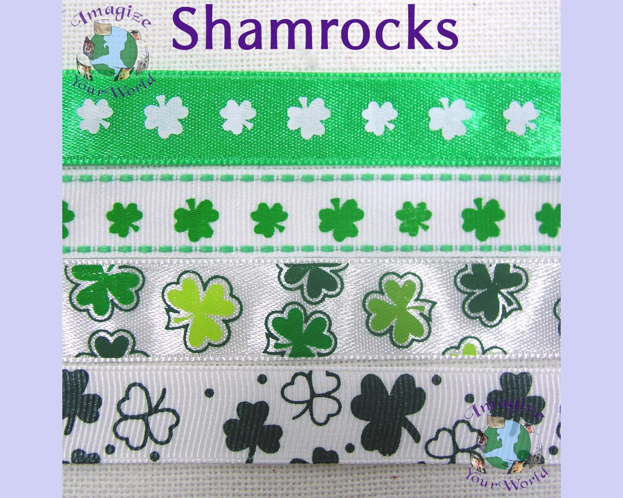 SHAMROCKS Choker 5/8 inch 16 mm wide Dark Green White St. Patrick's Day Custom