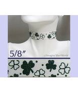 SHAMROCKS Choker 5/8 inch 16 mm wide Dark Green White St. Patrick's Day ... - $5.25