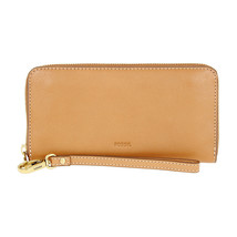 FOSSIL Emma RFID Large Zip Clutch Tan - $60.78