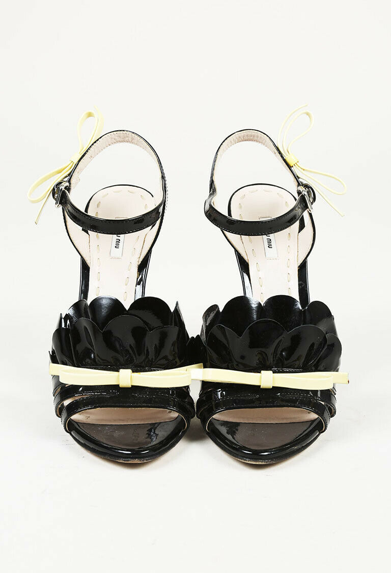 Miu Miu Patent Leather Ruffle Bow Sandals SZ 37.5