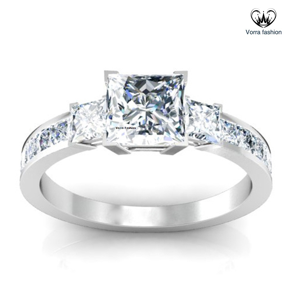 Princess three stone ring with princess accent diamonds 33