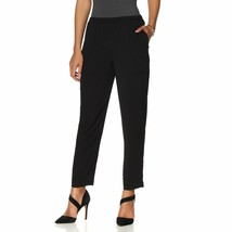 Vince Camuto Crepe Slim-Leg Ankle Pant in Rich Black, XS - $32.66