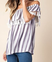 Striped Top with Tassels, Striped Off Shoulder Top, Blue White Stripes, Womens