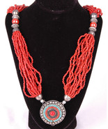 "Beaded Pendant Necklace-Beaded Dangle Baubles-30""-Jewelry - $28.04"