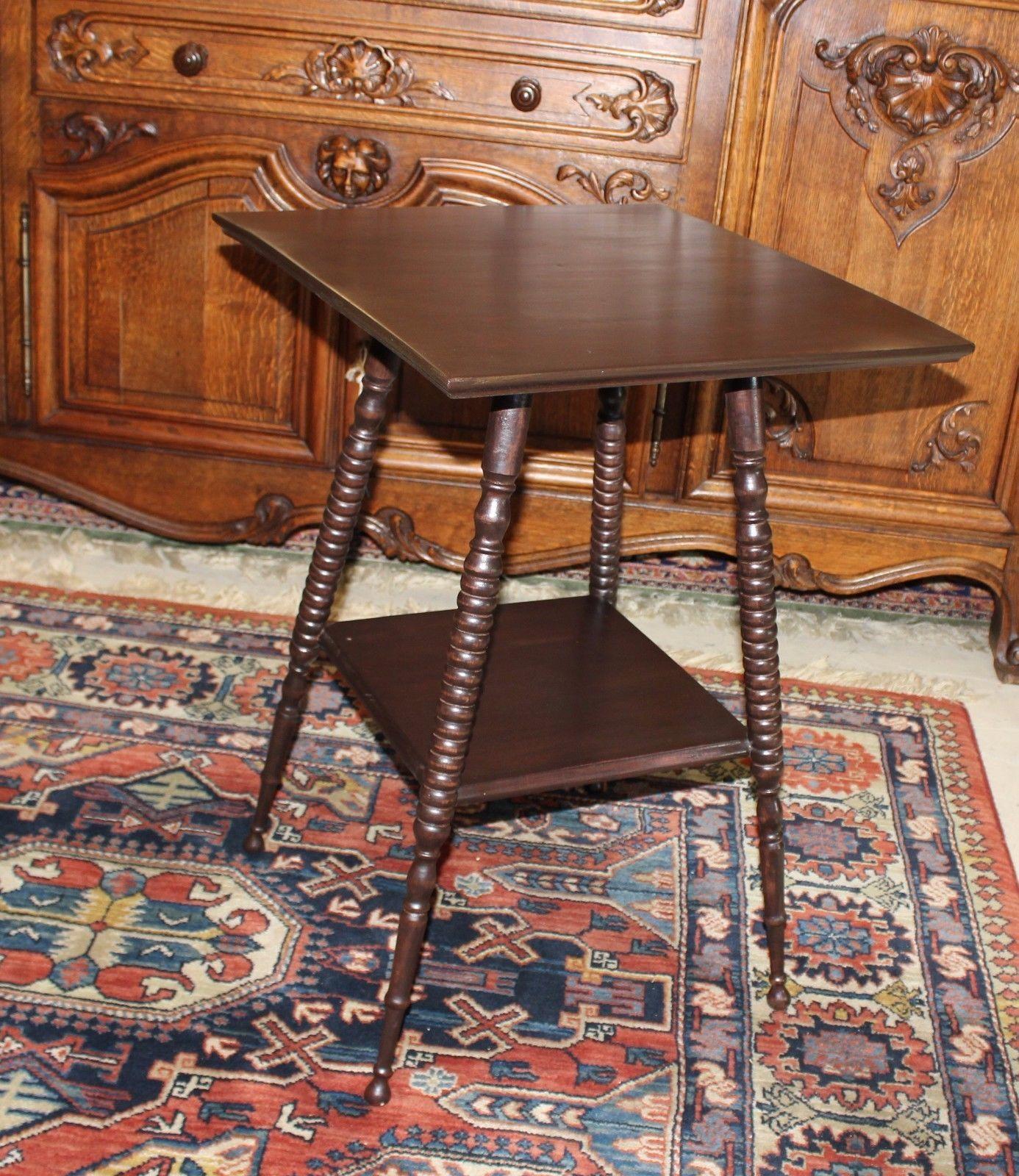 American Antique Bobbin Mahogany Side Table Small Square Table