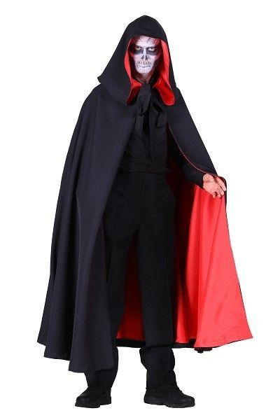 Deluxe HOODED Gothic Cloak - Black with Red lining