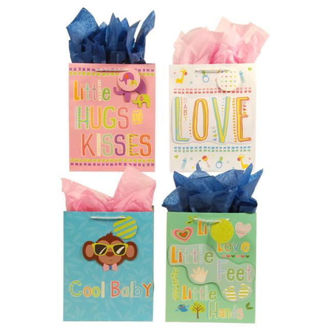 10 1/2W x 13H x 5 1/2G Large Cool Baby Pop Layer On Matte Gift Bag, 4 Designs, C