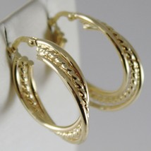 18K YELLOW GOLD TWISTED EARRINGS WORKED & BRIGHT CIRCLE HOOP 23 MM MADE IN ITALY image 2