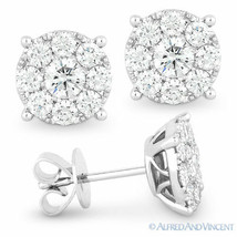 1.42ct Round Brilliant Cut Diamond Cluster Pave Stud Earrings in 14k White Gold - $2,969.99