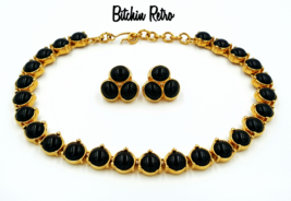 Monet Necklace and Earring Set  Vintage Black Cabochons Classic Style  - $66.00