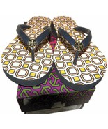 Tory Burch Logo Thin Flip Flop Rubber Thong Sandals Flats Octagon Jelly 6 - $29.00