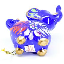 Handcrafted Painted Ceramic Blue Elephant Confetti Ornament Made in Peru image 5